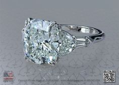 Five stone platinum engagement ring with 6 carat cushion diamond by leon mege