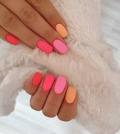 Neon Nail Art, Neon Nails, My Nails, Matte Nail Art, Neon Nail Colors, Matte Gel Nails, Bright Gel Nails, Colorful Nail Art, Pastel Nail