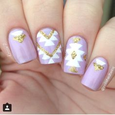 pastel lilac nails with geometric / aztec + triangle nailart in white + gold glitter @polishedtwins