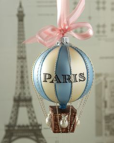 Neiman Marcus Cortina Paris Hot Air Balloon Christmas Ornament