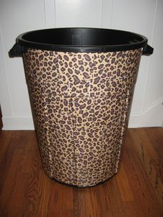 Leopard trashcan so the garage can be stylish too :)