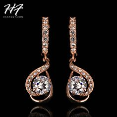 d86fecb00938 Loop with 8mm 2ct Round High Quality CZ Rose Gold Color Earrings For Women  Anti allergic Jewelry Brincos E685 E686-in Drop Earrings from Jewelry ...