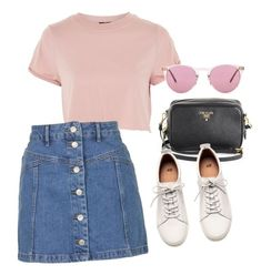 """""""Untitled #475"""" by ksenia1ksu ❤ liked on Polyvore featuring Topshop, Prada, H&M and Oliver Peoples"""