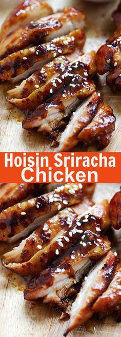 Hoisin Sriracha Chicken – Crazy delicious chicken dinner for the family! Marinated with hoisin, sriracha and honey. Takes 20 mins and so good | rasamalaysia.com
