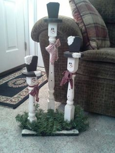 <snowmen out of porch spindles