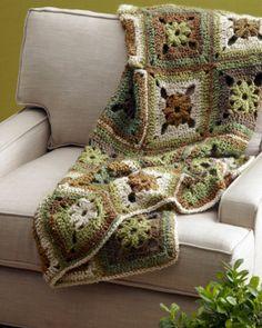 Lion Brand Homespun / free pattern: Calm Green Throw