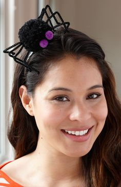 Lion Brand® Pom Pom Spider Headband  #halloween #craft