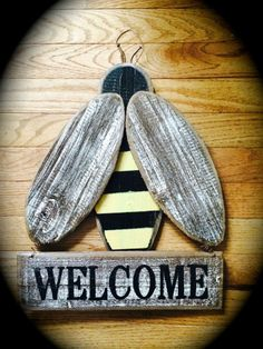 "Large 16"" Primitive Wooden Bee *Welcome* Plaque Spring Summer #NaivePrimitive"
