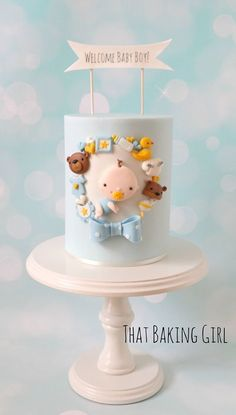 Baby shower cake for a little boy - by That Baking Girl Baby Shower Cakes For Boys, Baby Boy Cakes, Girl Cakes, Fondant Baby, Fondant Cakes, Cupcake Cakes, Pretty Cakes, Cute Cakes, Beautiful Cakes