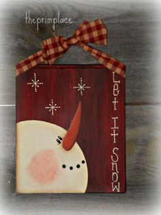 Primitive Hand Painted Snowman Wall Hanging by theprimplace on Etsy Christmas Wood Crafts, Christmas Canvas, Snowman Crafts, Christmas Paintings, Primitive Christmas, Christmas Signs, Christmas Snowman, Rustic Christmas, Christmas Projects