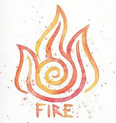 Feuer Nation Symbol //10x10 Watercolor Painting Print / / Zuko / / Avatar the Last Airbender / / Fire Emblem / / Orange Gelb Rot