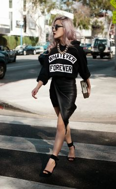 street style, all black outfit, fashion, summer outfit, spring, fall outfit, pastel hair