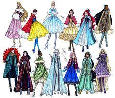 Hayden Williams Fashion Illustrations: Disney Divas 'Holiday' collection by Hayden Williams Moda Disney, Hayden Williams, Disney Princess Fashion, Disney Style, Disney Fashion, Film Disney, Disney Art, Disney Divas, Estilo Disney