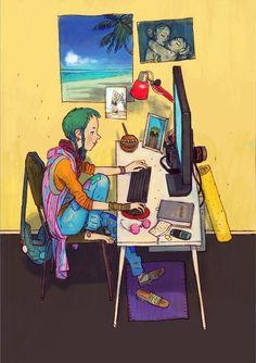 """Avec se série """"Devexperts"""", l'illustrateur russe Dmitry Narozhny dresse le portrait des différents styles de développeurs qu'il a croisé. Du fan de Star Wars au hipster super-connecté en passant par lawebmasterd'un site de voyages ou le fan d'Apple, à v"""