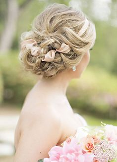 This romantic style, intertwined with ribbon, has modern-day princess written all over it. Wedding Hairstyles, Wedding Hairstyles for Long Hair, Bridal Hairstyles, Summer Wedding