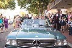 Kristen| Fredericksburg Baptist Church Photo By W. Wooten Photography|Engagements & Weddings Convertible get away car