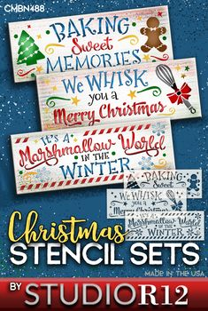 "Baking gingerbread cookies, whisking up egg-nog and adding marshmallows to cocoa after sledding, are just a few traditional winter activities. Your kitchen is the gathering place where family memories (and sweets) are made. Use these quality mylar templates to create DIY wood signs that are fun reminders of the Holidays. This 3-piece combo (13.5"" x 5.0"" each) includes ""Baking Sweet Memories"", ""It's a Marshmallow World"" & ""We WHISK you a Merry Christmas"". USA Made, quick shipping 100%…"
