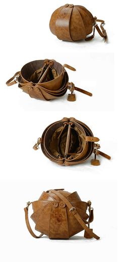 Brown Leather Cross Body BagLarge Round Shoulder bag by KiliDesign