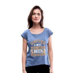 Geschenke Shop   Bier spruch - Frauen T-Shirt mit gerollten Ärmeln Cats, Shopping, Fashion, Accessories, Gifts For Women, Women's T Shirts, Chic, Cotton, Moda