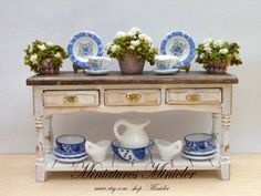 Miniature Dollhouse Wooden Sideboard 112 With by Minicler on Etsy