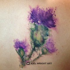 Watercolor Tattoo: Purple and Pink Tree tattoo inspired by the watercolor painting commissioned by the client.