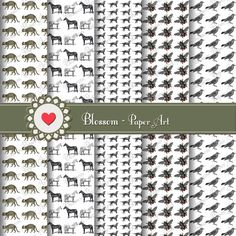 White and Black Animals Paper - Scrapbooking - Cardmaking - Decoupage - Digital Scrapbook - Printable Paper