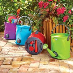 These collapsible watering cans quickly convert into buckets to help you handle all your gardening chores. Available in 7 vibrant colors, our handy garden tool can be used to water plants, wash your car, and even collect rainwater. Use it as a watering can with its attached spout, or quickly transform it into a bucket by unscrewing the spout and attaching an end cap to seal the hole. The spout of this collapsible pail conveniently stores in the base and the bucket and folds flat for storage.