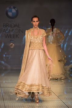 Tarun Tahiliani Collection Gold Embellished #Lehenga With Long #Blouse At IBFW 2014.