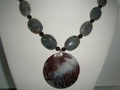 Grey Feldspar Necklace with Shell pendant and free pair by yasmi65, $30.00