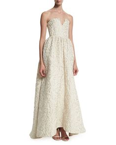 Axmis Strapless Floral Jacquard Gown  by Alice + Olivia at Neiman Marcus.