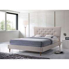 Elegantly and sculpturally designed, the Hermia Mid-century Modern Beige Linen Platform Bed features graceful curves with button-tufting detailing.