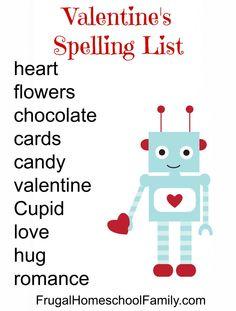 FREE Valentine's Day Spelling List