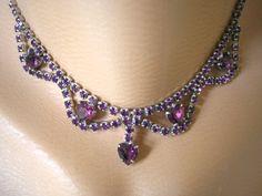 Purple Rhinestone Necklace, Bridal, Vintage, Hearts, Sparkly, Wedding