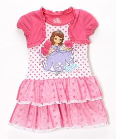 This Pink Polka Dot Sofia the First Ruffle Dress - Girls by Sofia the First is perfect! #zulilyfinds