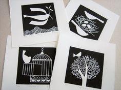 Set di 4 stampe - maestro di uccelli-Limited Edition 10 - Art bianco e nero - rara originale mano tirato Lino stampe, Lino blocco firmato