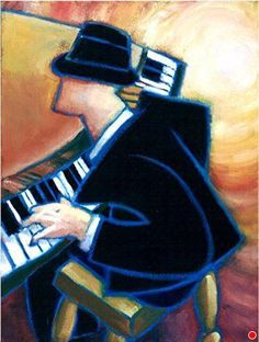 Jazz Piano by Chuck Weber ~ x Drawing Piano, Piano Art, Jazz Artists, Jazz Musicians, Easy Canvas Painting, Jazz Club, Music Artwork, Fantasy Paintings, Street Art Graffiti