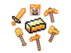 Minecraft Gold Tools Steve and Gold Brick Perler Sprites by PXLTD