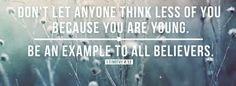 1 Timothy 4 v 12 Michael Ballack, Favorite Bible Verses, Favorite Quotes, Best Quotes, Bible Quotes, Words Quotes, Wise Words, Wise Sayings, Bible Scriptures