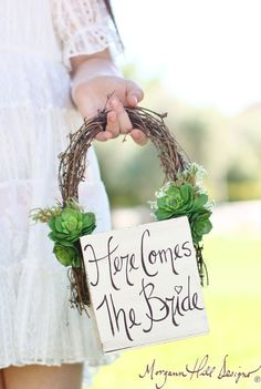 Flower Girl Basket Succulents Grapevines Rustic Chic Wedding Here Comes The Bride Sign  (Item Number 140158) NEW ITEM