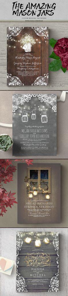 Mason Jars and Dreamy Rustic Barn Lights Invitations. Browse all invites at : http://www.zazzle.com/jinaiji?rf=238735013921289874&tc=needwedding11