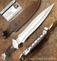 IMPACT CUTLERY RARE CUSTOM D2 KNIFE DAGGER   FULL TANG   BURL WOOD HANDLE   eBay
