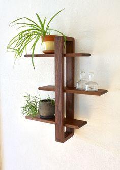 Shift Shelf -- Modern Wall Shelf, Solid Walnut for Hanging Plants, Books, Photos. Modern Shelving, Wood, Modern Wall, Easy Home Decor, Modern Wall Shelf, Shelves, Woodworking, Woodworking Projects Diy, Home Decor