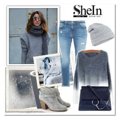 """Grey Ombre Round Neck Mohair Sweater"" by bliznec ❤ liked on Polyvore featuring Frame Denim, Chloé, rag & bone, Accessorize, women's clothing, women's fashion, women, female, woman and misses"
