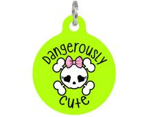 "Cute Pet ID Tag ""Dangerously Cute"" Personalized Dog or Cat Tag Cat Tags, Pet Id Tags, Cute Dog Tags, Cute Dogs, Foam Sheets, Pet Supplies, Cute Animals, Pets, Holiday Decor"