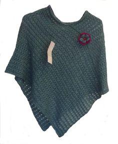 Damen Poncho #Cape Umhang hochwertige Babyalpaka Wolle (blau):