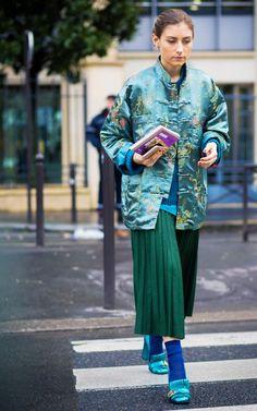 Green pleats + a silk kimono coat.