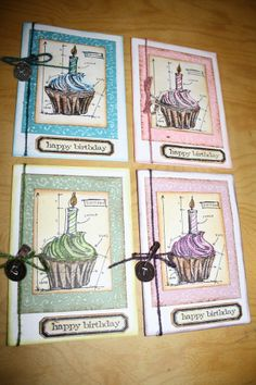 TPHH Pre-made Tim Holtz Birthday Cards set of 4  Designs by Christine
