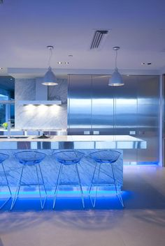 modern kitchen design with blue light