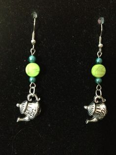 Blue and Green Teapot Earrings by queenofqeeks on Etsy, $8.00