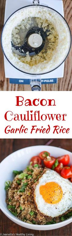 Bacon Cauliflower Garlic Fried Rice - This is a low-carb, healthy and delicious version of Filipino garlic fried rice. Served with Asian tomato ginger salad and a fried egg, this is great for breakfast ~ http://jeanetteshealthyliving.com